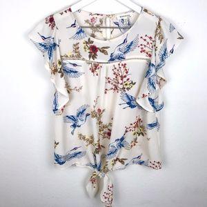 Monteau    Crane & Floral Print Tie-Front Blouse
